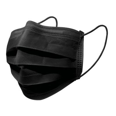 Mascherina Chirurgica 3 strati Type IIR con elastici colore nero - 50 pezzi